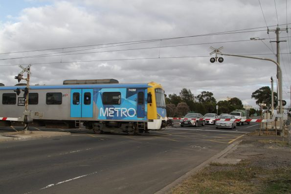 Siemens 743M trails a down Werribee service via the Altona loop at Kororoit Creek Road