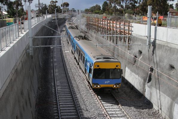 Citybound Sunbury line service descends into the new low level St Albans station