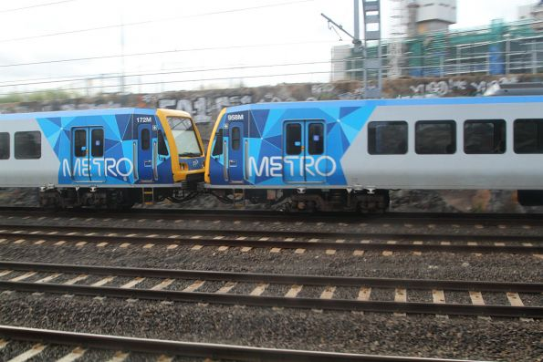 X'Trapolis 172M and 958M approach Footscray on a down Williamstown service