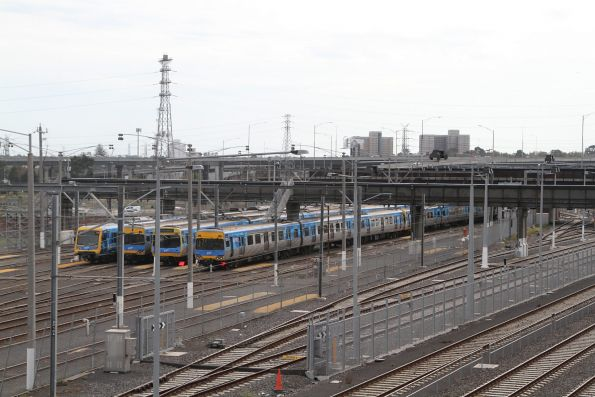 X'Trapolis among the Comeng trains stabled at Melbourne Yard