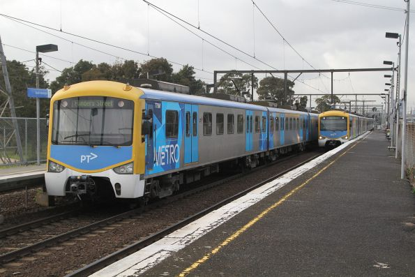 Siemens trains cross paths at South Kensington on up and down Werribee services