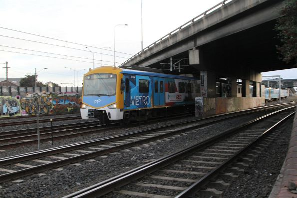 Siemens 824M leads an up train out of West Footscray station