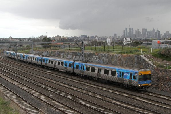 Comeng 374M leads a down Werribee service into Footscray