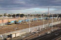 Alstom Comeng train with new bogies stabled at Melbourne Yard