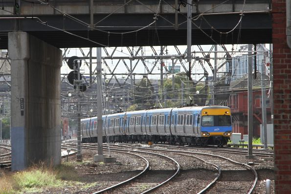 Citybound service approaches North Melbourne station