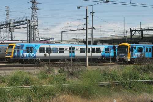X'Trapolis 925M and Siemens 823M stabled at North Melbourne