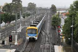 Siemens train shunts out to the yard at Watergardens