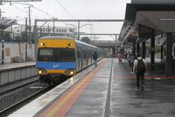 Alstom Comeng arrives into Footscray on a down Sunbury service
