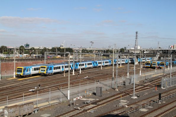 X'Trapolis trains 185M and 240M stabled at Melbourne Yard