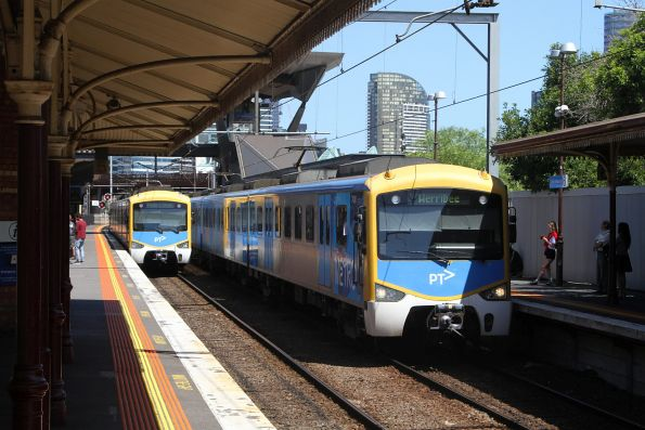 Siemens trains on up and down Werribee services cross paths at North Melbourne