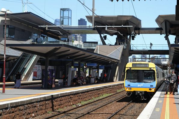 Comeng train arrives into North Melbourne with a down Sunbury service