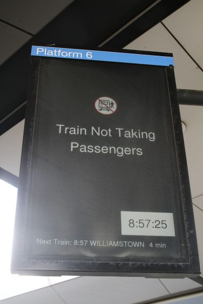'Not taking passengers' - next train at North Melbourne platform 6 is bound for the sidings