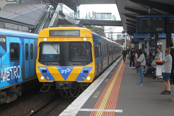 EDI Comeng 396M at North Melbourne on a down Craigieburn service, repainted following life extension works