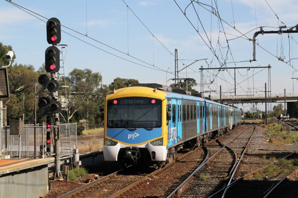 Siemens train departs Broadmeadows station on the up
