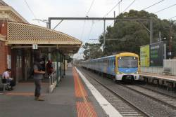 Siemens train on a down Upfield service at Coburg station