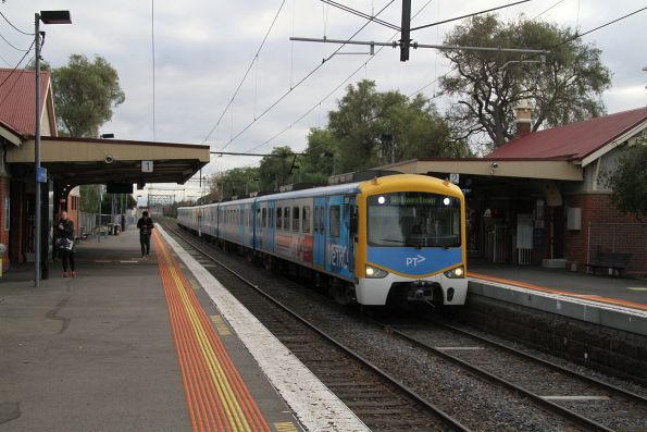 Siemens 828M arrives into North Williamstown with a down Williamstown service