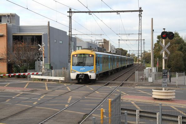 Siemens train departs North Williamstown with a down Williamstown service