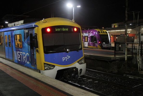 Siemens 716M on a down Werribee service beside VLocity VL60 at Footscray