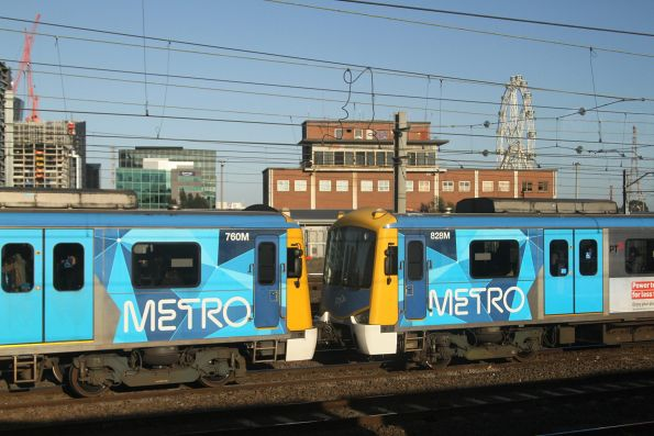 Siemens trains 760M and 828M on an up Werribee service at North Melbourne