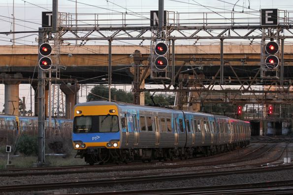 Alstom Comeng 529M arrives into North Melbourne with an up Werribee service