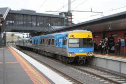 Alstom Comeng 575M arrives into Footscray station on an up Sunbury service