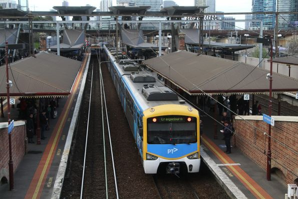 Driver change for a Siemens train on a down Craigieburn service at North Melbourne platform 4