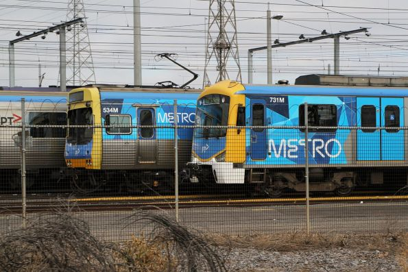 EDI Comeng 534M and Siemens 731M stabled at North Melbourne