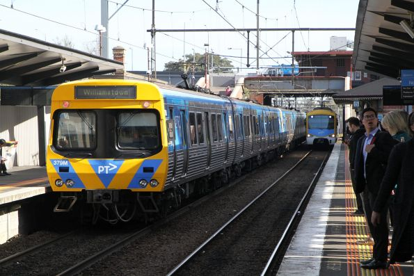 Life extension EDI Comeng 379M departs North Melbourne on a down Williamstown service