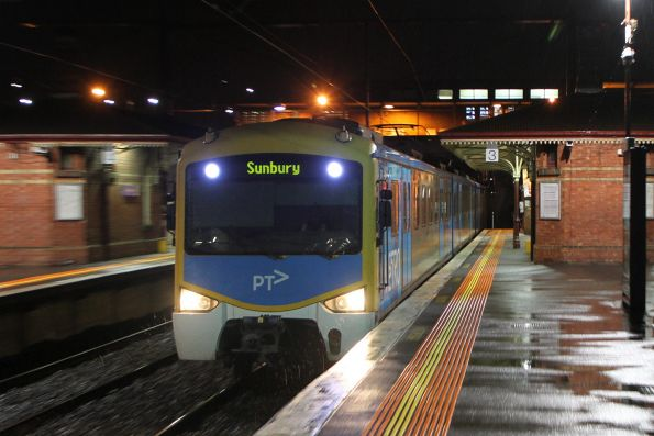 'Sunbury' on the headboard of an up train arriving into North Melbourne