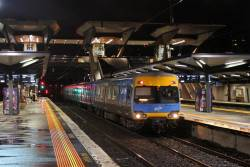 Alstom Comeng arrives into North Melbourne on the down