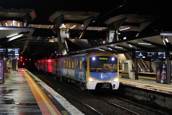 Siemens train arrives into North Melbourne with a terminating down Sunbury service