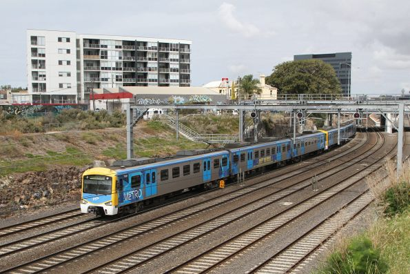 Siemens 730M leads an up Werribee service out of Footscray