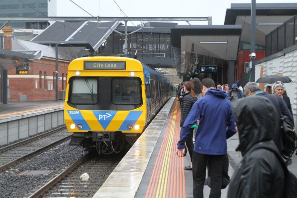 Life extension EDI Comeng 355M arrives into Footscray with an up Sunbury service