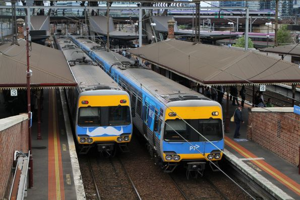 Pair of Alstom Comeng trains at North Melbourne