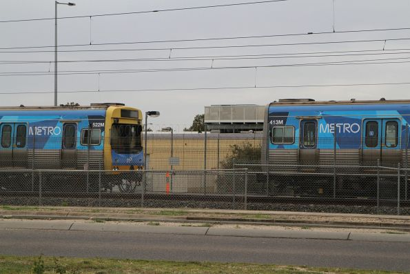 EDI Comeng 522M and Alstom Comeng 413M stabled at Watergardens