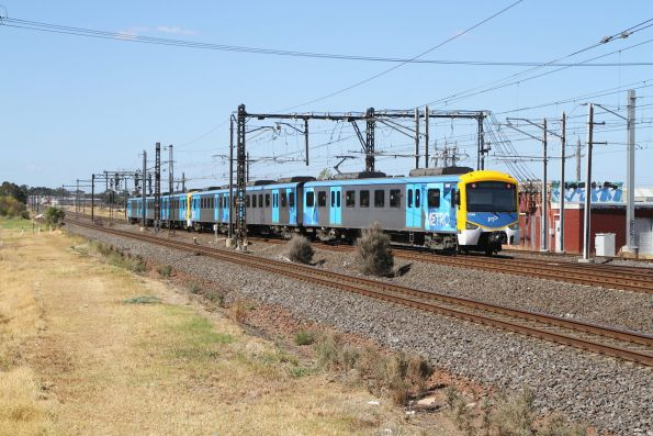 Citybound Siemens train rejoins the main line at Altona Junction