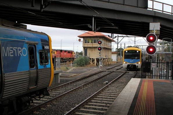 Life extension EDI Comeng 349M waiting at Sunshine for the down V/Line Swan Hill service to overtake it