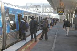 Decent sized crowd waiting at West Footscray for the next citybound service
