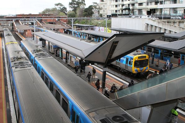 Trains everywhere at North Melbourne station
