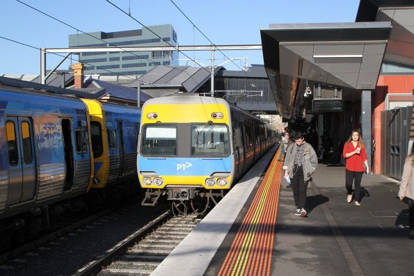Alstom Comeng arrives into Footscray on an up Sunbury service