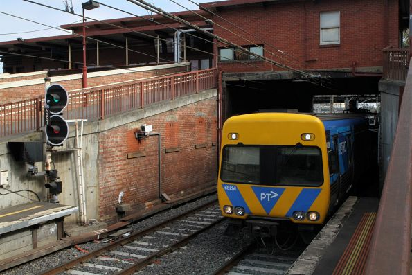 Life extension Alstom Comeng 662M arrives into North Melbourne platform 1