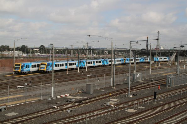 X'Trapolis 961M and 923M stabled at Melbourne Yard