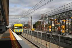 Life extension Alstom Comeng 325M passes through West Footscray on an up express Sunbury service