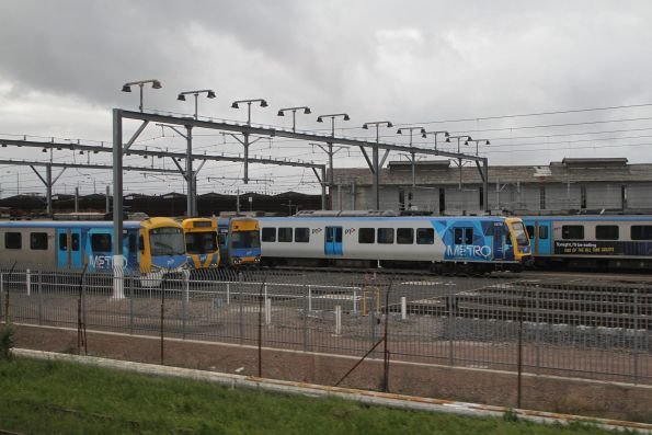 Siemens, EDI Comeng, Alstom Comeng and X'Trapolis 187M stabled at Newport