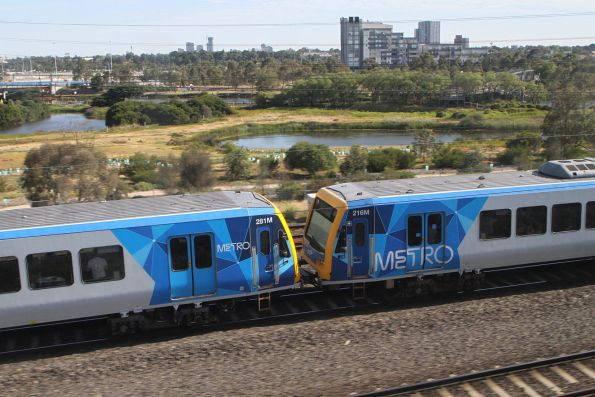X'Trapolis 281M and 216M on an up Werribee service at Footscray
