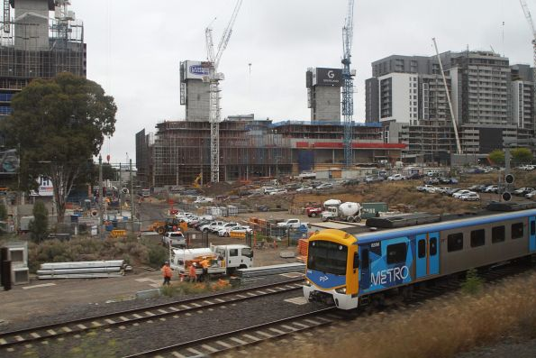 Siemens 820M passes apartment developments at the Joseph Road Precinct in Footscray