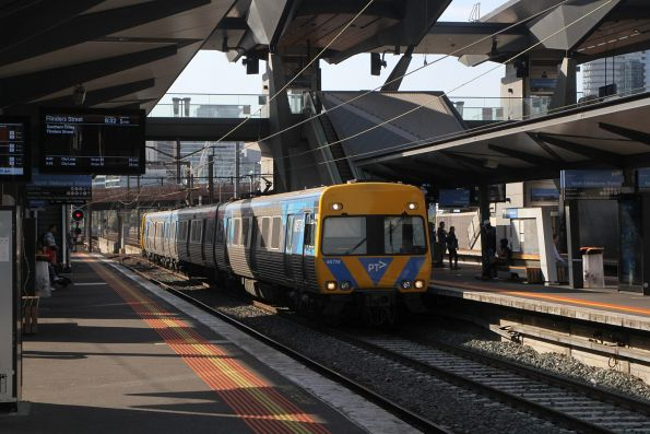 Life extension Alstom Comeng 467M arrives into North Melbourne on the up