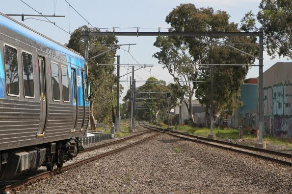 Life extension EDI Comeng 526M heads onto the single track at Gowrie on a down Upfield service