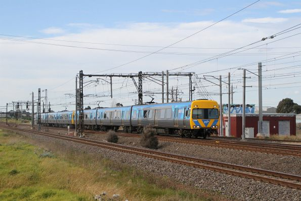 Alstom Comeng 629M leads a down Werribee service through Altona Junction