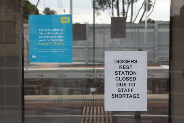 Sign at the waiting room entrance - 'Diggers Rest station closed due to staff shortage'